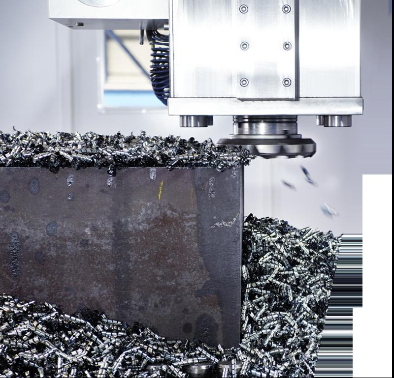 Metall-Werkstück wird mit einer CNC-Fräsmaschine bearbeitet.